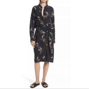Vince Navy Floral Long Sleeve Silk Dress XS